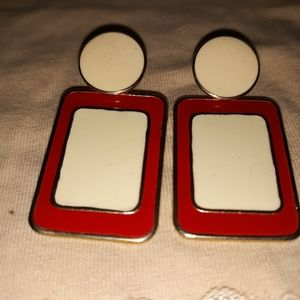 Vintage red and white Post-back Earrings